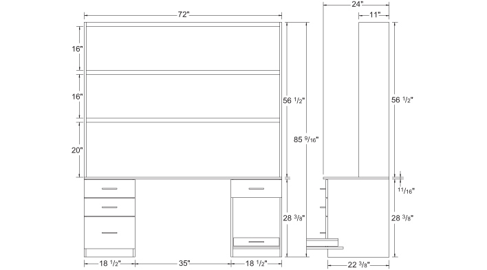 Desk elevations