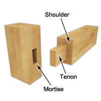 Example of wood assembly technique with tenon and mortise joint