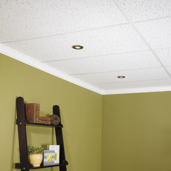 Suspended ceiling with integrated lighting fixtures in the basement