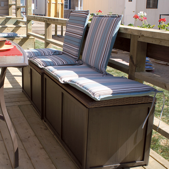 Patio bench doubles as storage bins.
