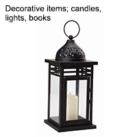Decorative items ; candles, lights, books