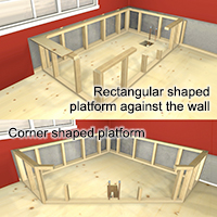 Rectangular and corner shaped platforms against the wall