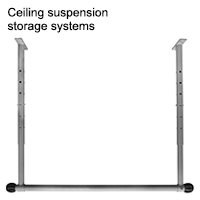 Ceiling suspension storage systems