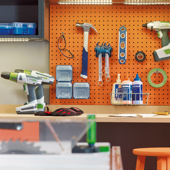 Select hooks for pegboards that fit specific items.