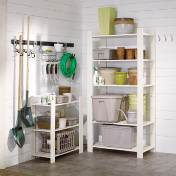 Open shelving is ideal for garden tools to guard against mold growth.