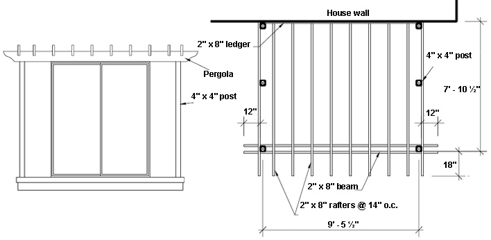 Elevation of a pergola on a deck.