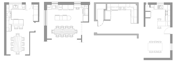 Various kitchen layouts