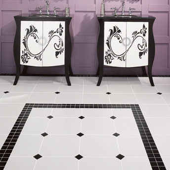 Ceramic tile floor with insertion
