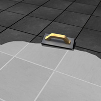Apply grout with a rubber float