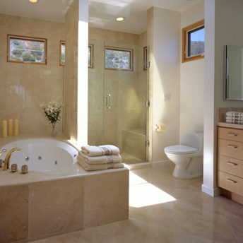 A shower and bathtub area