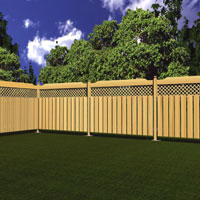 Treated-wood trellis fence