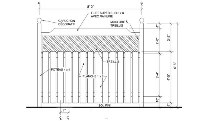 Construire une cl ture en bois trait 1 rona for Construire une barriere en bois