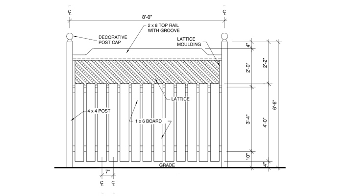 Treated-wood backyard fence elevation