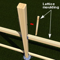 Install the lattice moulding