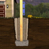Fence post foundation with posts inserted into form tubes (sonotubes)