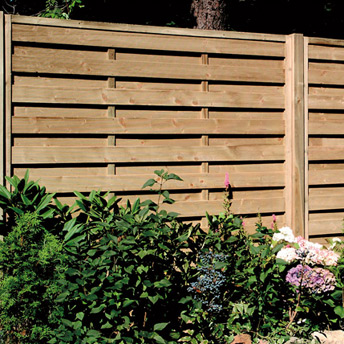 Pressure-treated-wood fence panels, 6' high