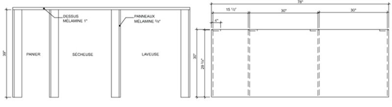 Work counter elevation – laundry room