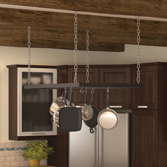 Pot rack hanging from chains