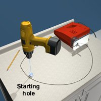 Make a starting hole in the countertop