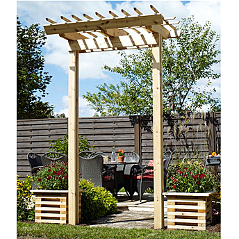 build a cedar pergola arch construction plans rona. Black Bedroom Furniture Sets. Home Design Ideas