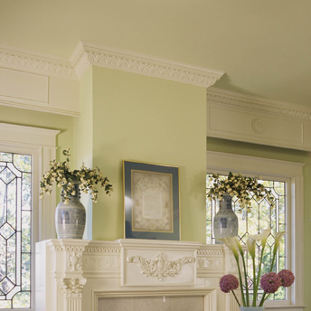 Crown moulding provides a decorative transition between wall and ceiling