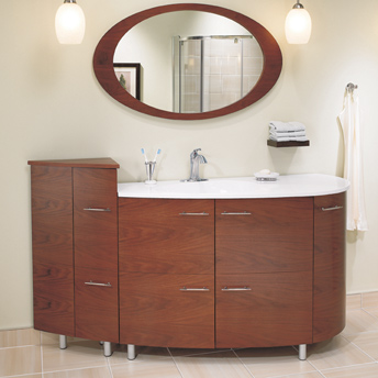 A large bathroom cabinet adds storage space