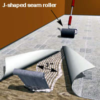 Joining two flooring sheets at the seam