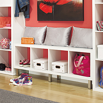 Storage bench and shelves