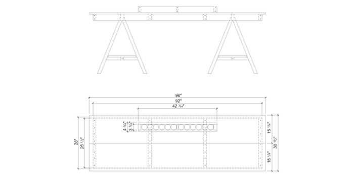 Elevation – Art trestle table