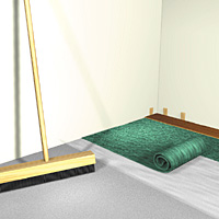 Laying polyethylene foam underlayment