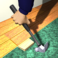 Use a tapping block to adjust the planks