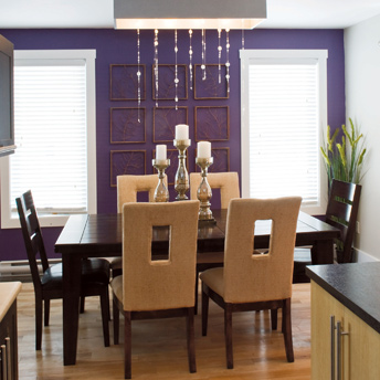 Dining Room With A Purple Accent Wall