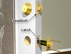 Slide the latch bolt into the lateral hole.