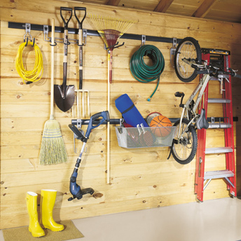 Wall racks and storage in the shed