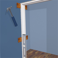 The shims are place in each side of the doorframe one under, the other top.