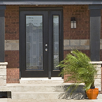 Glass exterior door with one side panel