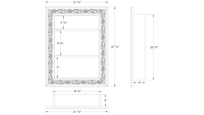 Elevation of the recessed shelving unit with decorative moulding