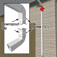 Fit the top clip around the downspout.