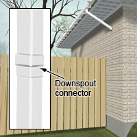 Join downspout sections with a connector.