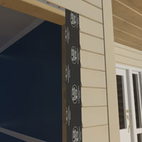 Apply self-adhesive flashing around the sides of the door.